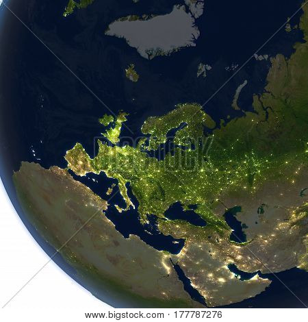 Europe At Night On Planet Earth