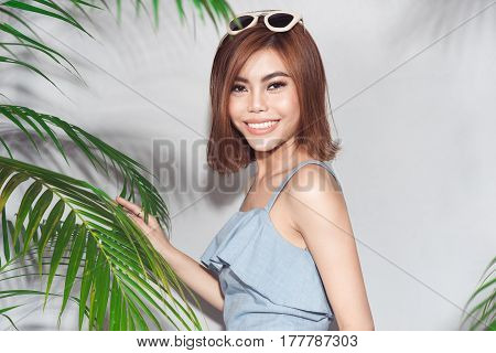 Portrait of young sexy asian summer woman