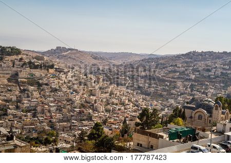 The Village of Siloam, neighborhood of Silwan, view from the wall of the Old City of Jerusalem, Israel