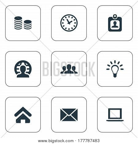 Vector Illustration Set Of Simple Business Icons. Elements Letter, Computer, Member And Other Synonyms Envelope, Watch And Laptop.