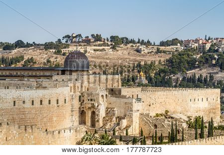 JERUSALEM, ISRAEL - DECEMBER 8: View of the Al-Aqsa Mosque on the Temple Mount in Old City of Jerusalem, Israel on December 8, 2016