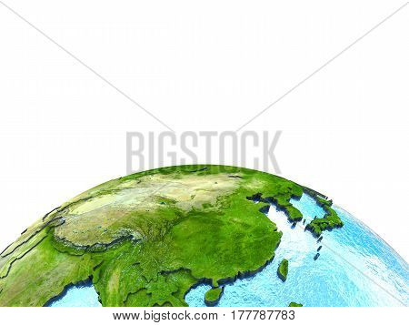 East Asia On Model Of Earth