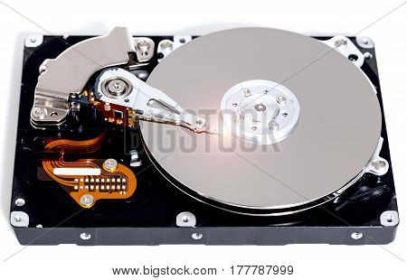 Open hard drive against white background picture