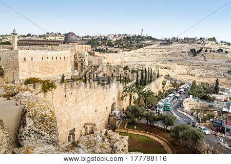 JERUSALEM, ISRAEL - DECEMBER 8: The Al-Aqsa Mosque on the Temple Mount, view from the wall in Old City of Jerusalem, Israel on December 8, 2016