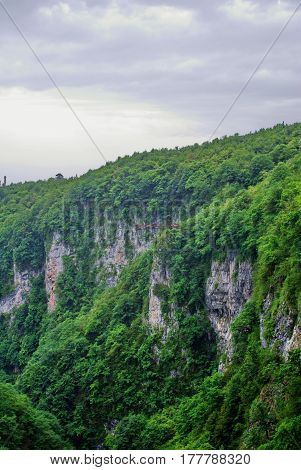 Mountain Gorge Okace. Popular tourist place in Imereti Georgia.