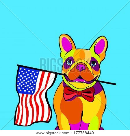 bulldog, dog, animal, french, vector, illustration, pet, breed