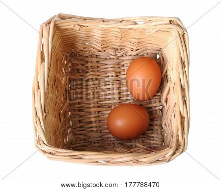 Two eggs in a small basket isolated on white