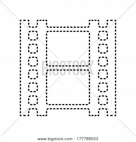 Reel of film sign. Vector. Black dashed icon on white background. Isolated.