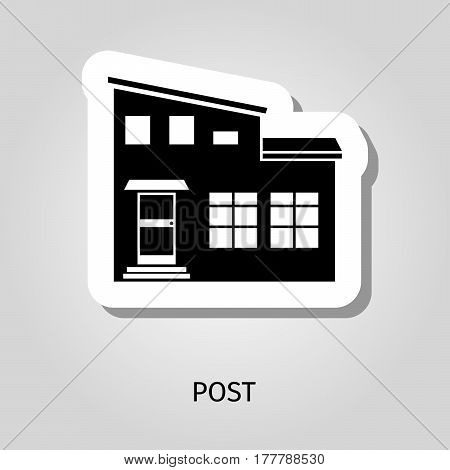 Post black silhouette building web sticker, vector illustration
