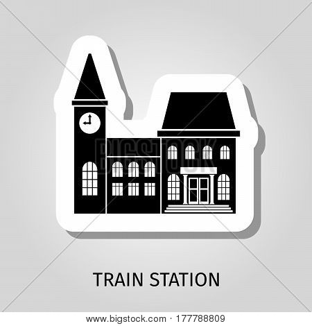 Train station black building vector web sticker icon