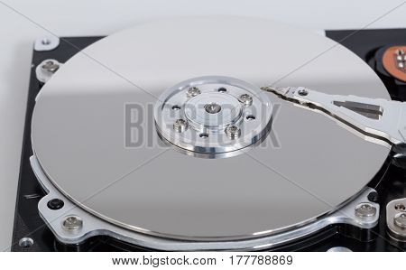 Open Hard Drive With Magnetic Disk And Writing Head