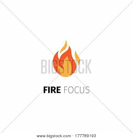 Fire icon. Vector fire focus logo template isolated on white background