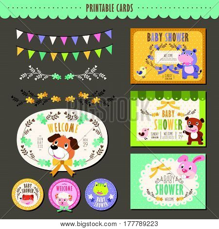 Adorable Animal Characters Baby Shower Cards