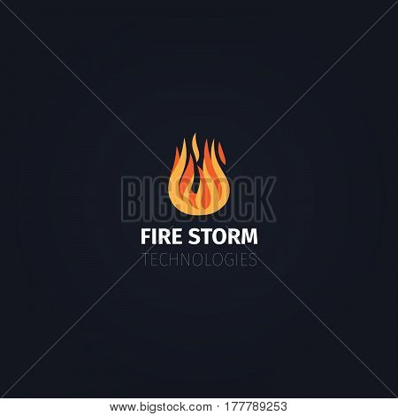 Fire icon. Vector fire storm technologies logo template