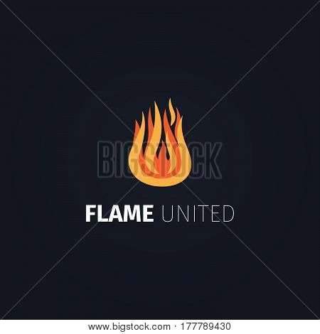 Fire icon. Vector flame united logo template isolated on dark background