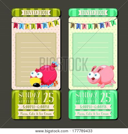 Adorable Animal Character Birthday Party Invitation