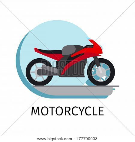 Vector motorcycle in flat style with sign on white background