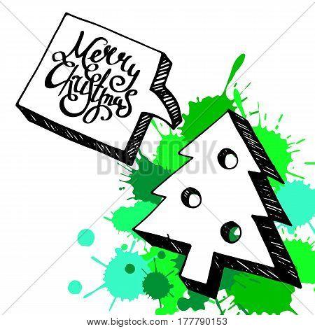christmas illustration tree vector holiday celebration decoration