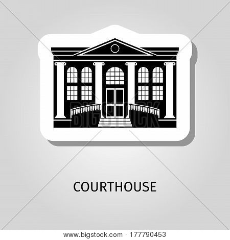 Courthouse black building vector web sticker icon with sign