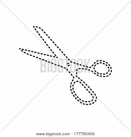 Scissors sign illustration. Vector. Black dashed icon on white background. Isolated.