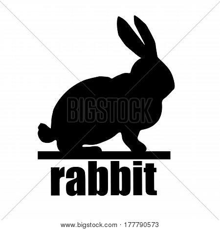White easter rabbit. Easter Bunny. Rabbit silhouette