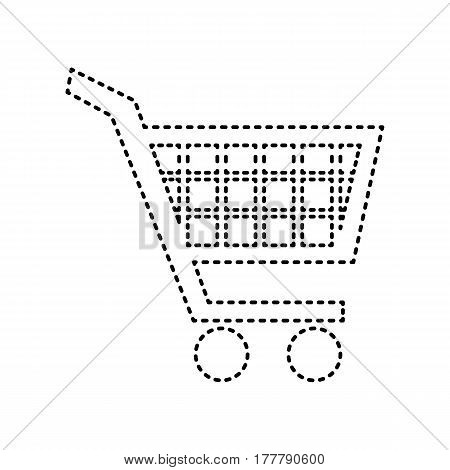 Shopping cart sign. Vector. Black dashed icon on white background. Isolated.