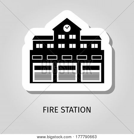 Fire station black silhouette building vector web sticker icon