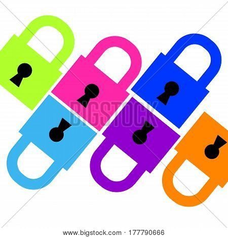 lock icon open closed vector color new