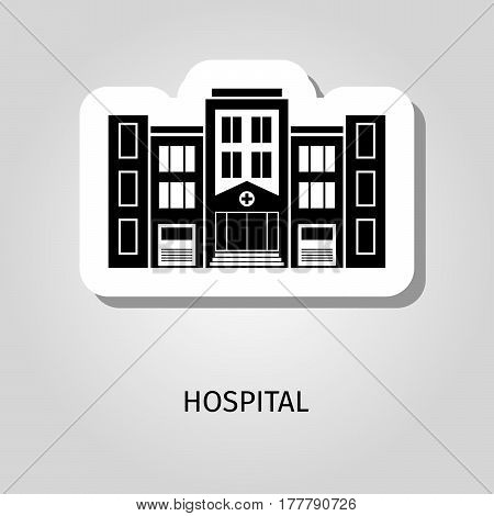 Hospital black silhouette building vector web sticker icon