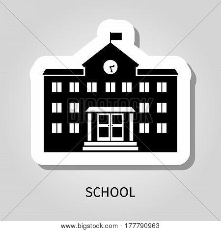 School building black silhouette vector web sticker icon