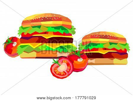 illustration of a burger, vector drawing burger cheeseburger sandwich