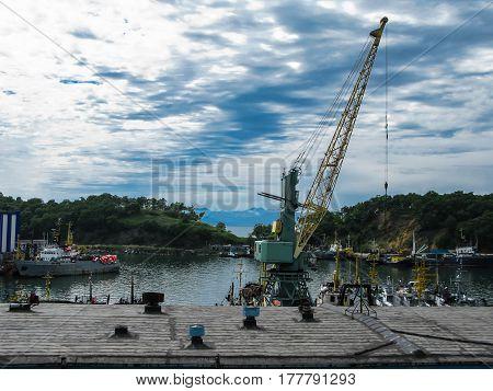Port of Petropavlovsk-Kamchatsky and Avachinskaya bay in Kamchatka Russia