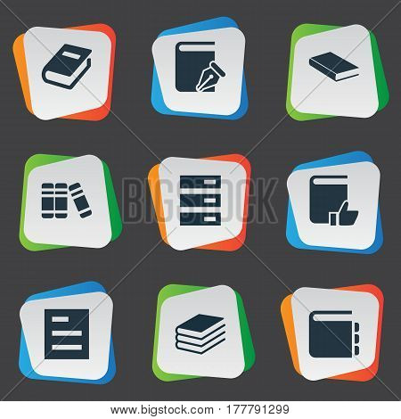 Vector Illustration Set Of Simple Knowledge Icons. Elements Favored Book, Pile, Notepad And Other Synonyms Reading, Document And Write.
