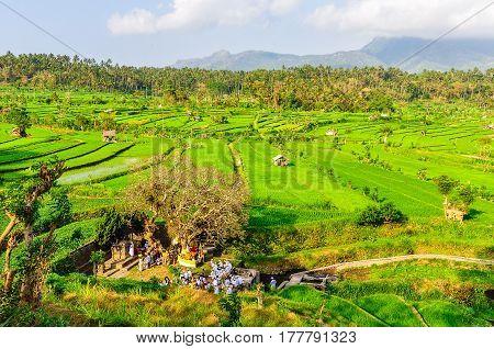 TIRTAGANGGA, INDONESIA - SEPTEMBER 30, 2012: Traditional spiritual celebration taking place on a rice field near Tirtagangga in Bali Island Indonesia