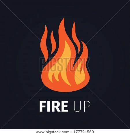Fire up icon. Vector fire flame logo template isolated on dark background