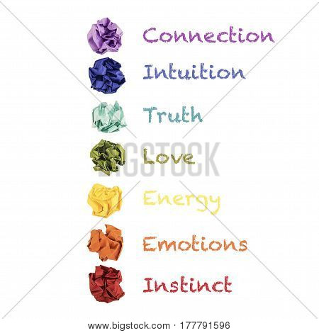Colorful paper balls in a row, chakras symbols with meanings