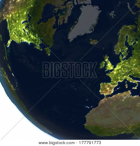 Europe And North America At Night On Planet Earth