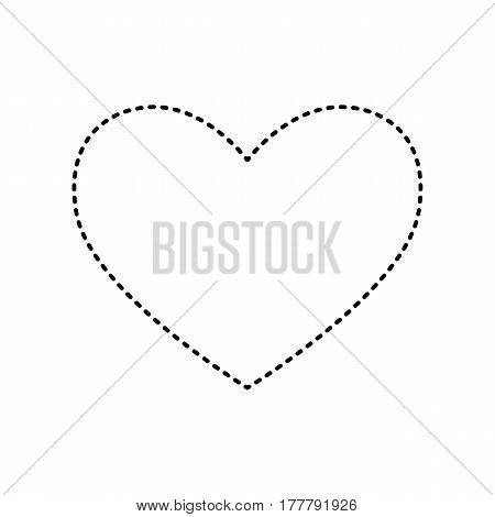 Tie sign. Vector. Black dashed icon on white background. Isolated.