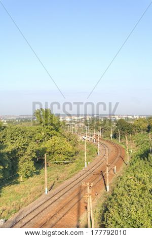 Railroad tracks leading to the station of the city Belgorod