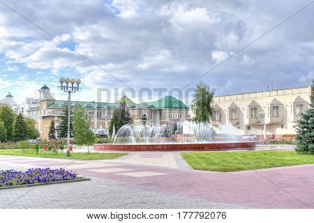 BELGOROD RUSSIA - August 31.2016: Fountain on the Museum Square next to the Museum of Local Lore and Arte Gallery