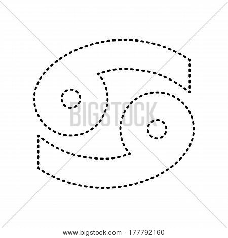 Cancer sign illustration. Vector. Black dashed icon on white background. Isolated.