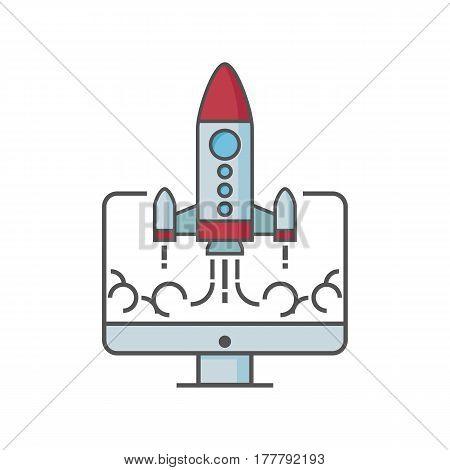Flat Design Rocket Vector & Photo (Free Trial) | Bigstock