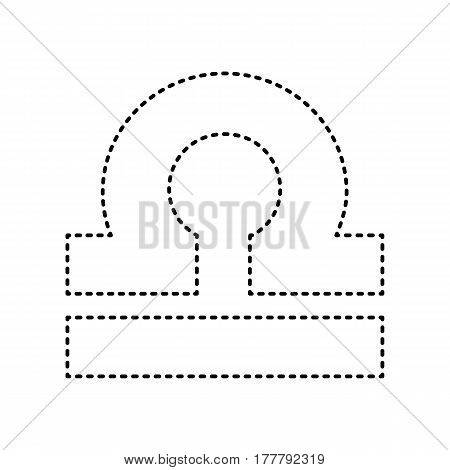 Libra sign illustration. Vector. Black dashed icon on white background. Isolated.