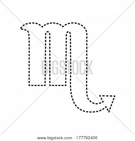 Scorpio sign illustration. Vector. Black dashed icon on white background. Isolated.