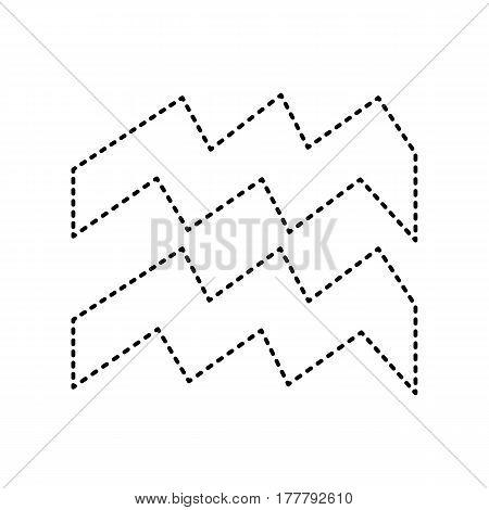 Aquarius sign illustration. Vector. Black dashed icon on white background. Isolated.