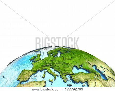 Europe On Model Of Earth