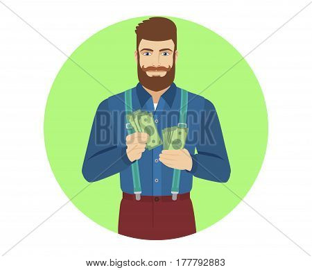 Hipster counts the cash money. Portrait of hipster in a flat style. Vector illustration.