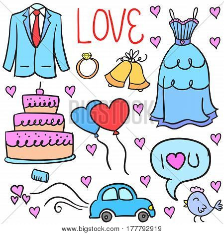 Element wedding party doodles style vector illustration