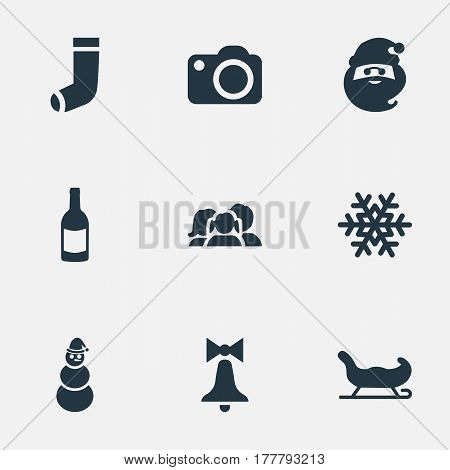 Vector Illustration Set Of Simple Celebration Icons. Elements Relatives, Snow, Sledge And Other Synonyms Character, Snowflake And Drink.