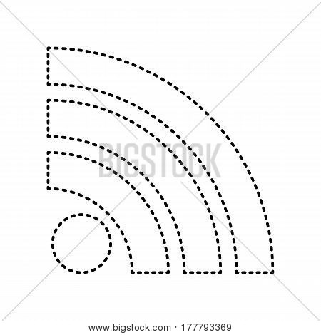 RSS sign illustration. Vector. Black dashed icon on white background. Isolated.